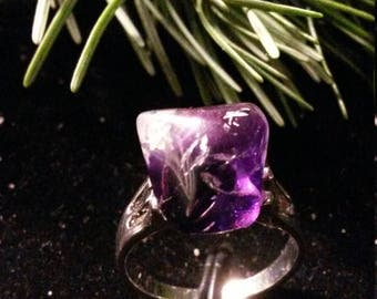 Ring AMETHYST ROUGH 5.04 Gr BAM3 - steel Silver
