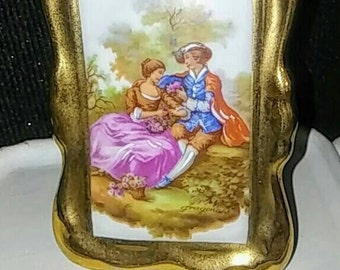 M.G.S. Limoges France Painted Photo Frame Figurine