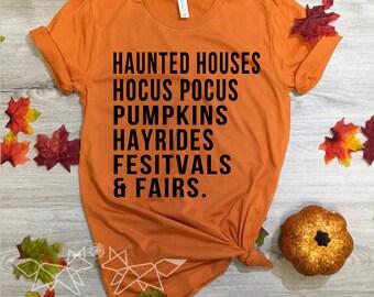 Haunted Houses Shirt, Halloween Shirt, Pumpkins Shirt, Fall Shirt for Women, Fairs & Festivals, Hocus Pocus Tee, Salem Tee, State Fair Tee
