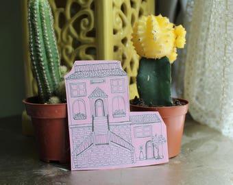 Pink Island House Sticker