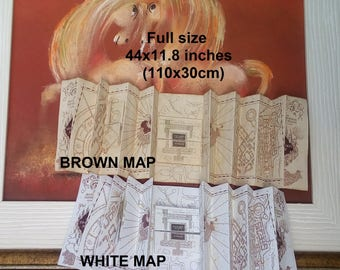 Magic map with flaps Fully sized Replica // handmade // the wizarding map hp , not affilated with TM hogwarts harry potter marauders map