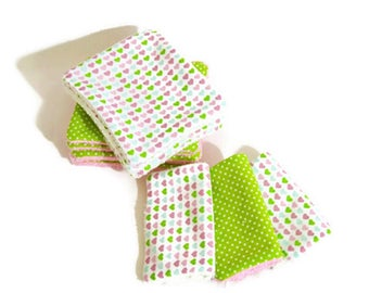 """Washable wipes Terry organic bamboo and cotton fabric """"Heart"""""""