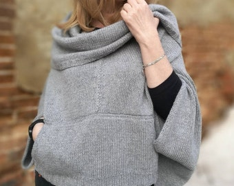 Poncho-kocon poncho grey knitted