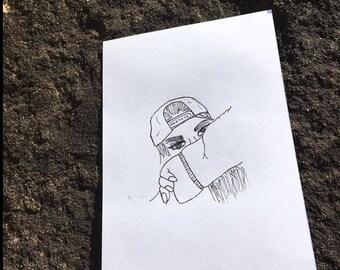 Hand drawn girl print