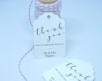 Personalised Wedding Favour Tags - Luggage Style Thank You Tags