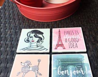 Ceramic Tile Coaster Set - Paris Theme