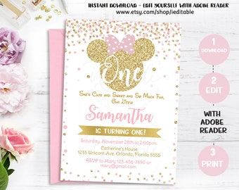 Pink and Gold Minnie mouse 1st birthday invitation, first birthday invite, Girls Polk dots, Gold Glitter, Editable Templates Intant download