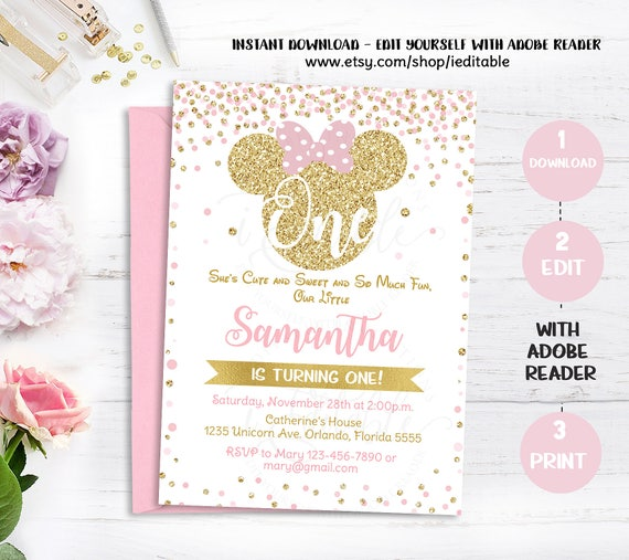 Pink and gold minnie mouse 1st birthday invitation first birthday il570xn filmwisefo