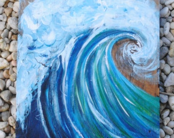 Hand-Painted Wave on Reclaimed Wood- Made to Order-Contact for Price
