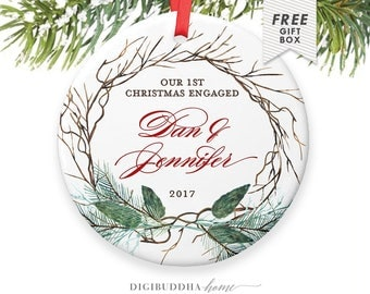 Rustic Christmas Tree Decorations, Newly Engaged Gift Christmas Ornaments Engaged, Personalized Christmas Ornaments Couple Engagement Gifts