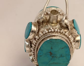 Silver Turquoise Oval Asian Snuff Stash Tube Bottle with Spoon Pendant 29.2g