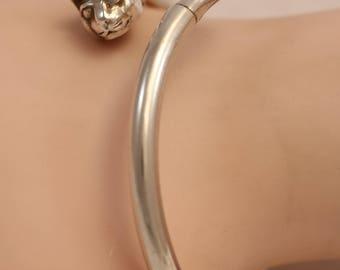 925 Sterling Silver Cat Head Tail Open Bangle Bracelet 12.2g