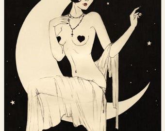 The lady on the Moon - Print, Vintage, 1920s, Vintage Illustration, Vintage Postcard