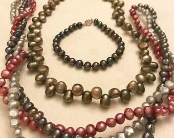 Vintage Freshwater Pearl Necklaces and Bracelet Lot
