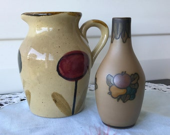 Vintage Ceramics - Vase and Jug - They Belong Together - Photo Bomb by Frida the Chick - Free Shipping