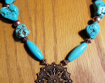 JewelryTurquoise Beads, Copper Tone Pendant, Necklace