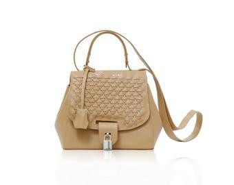 Women's tan leather braided tote bag with padlock, sac de femme cuir italien, brown intrecciato top handle handbag, Italian leather purse