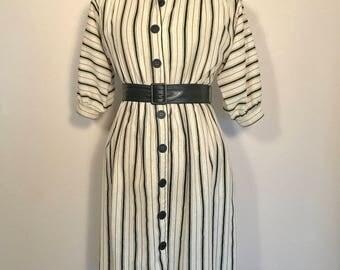 Vintage 80s Black/White Dress Edgy Puffed Sleeve Dress Sz 4 Petite