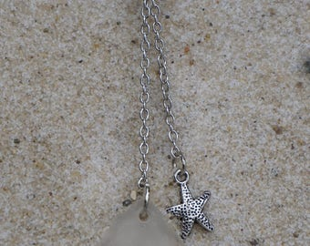 White Beach Glass Necklace with Starfish charm