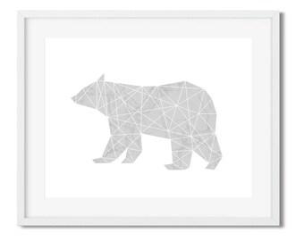 Polar Bear Marble Geometric Animal Print / Nordic Animal Cutout Silhouette /  Marble Bear Nursery Minimalistic Scandinavian Poster Art