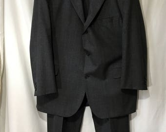 Vintage Men's 50 Tall Charcoal/Blue/Orange Textured Perlis Two-Piece Suit Made by Southwick -Big and Tall-