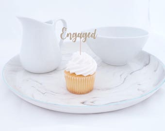 Engaged Cupcake Toppers (12 ct), Engagement Party Decor, Bridal Shower Decorations, Bridal Shower Cupcake Toppers, Rose Gold Bridal Shower