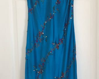 Sweetheart 90's Silk Dress V-Neck Floral and Beaded sz M