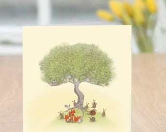 Theme Park - Cute and Quirky Friendly Forest Collection Woodland Creature Card (Blank Inside)