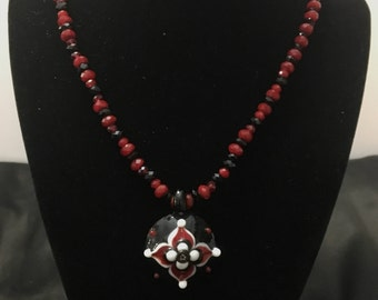 Claret Red and Jet Glass Necklace