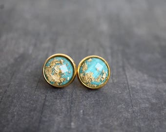 Gorgeous Turquoise Gold Leaf Stud Earrings, Big Studs, 12mm, Gold Bezel, Gold Flake Earrings, 12mm