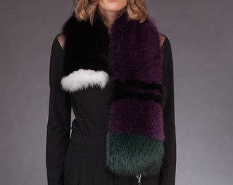 Handmade Natural Fox Fur Scarf / Collar With Pinnable Pom-Pom, Luxury Modern Unique Design