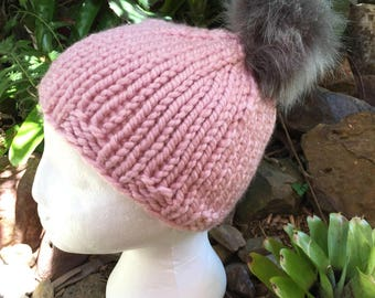 Pompom Beanie Hand Knit Chunky Knit