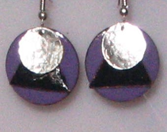 Enameled Layered Purple and Black Drop Earrings
