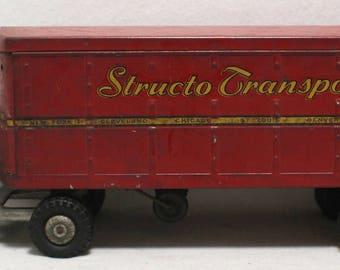 Vintage 1950s Structo Transport Van Metal Pressed Steel Toy Truck and Trailer