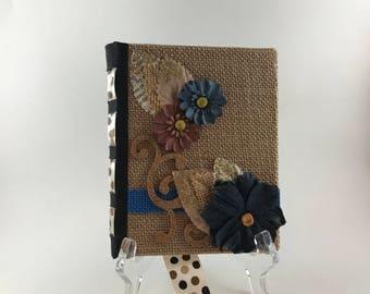 Burlap Travel Journal, Hard Cover, Handmade, Hand Bound, Vacation Journal Travel Diary