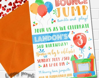 Bounce House Invitation Bounce House Birthday Boy Bouncy House Party Jump Invitation Watercolor Party Printable Invite First Birthday Invite