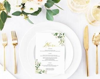 Printable Wedding Menu, Wedding Menu Template, Floral Wedding Menu, Menu Template, Blush Greenery Leaves Wedding Menu, Faux Gold  Menu 003