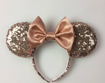 Rose Gold Sequin Minnie Mouse Ears, Sequin Ears, Mickey Mouse Ears, Sequin Mouse Ears - Disney Ears