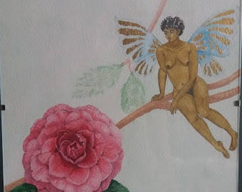 Fairy With Large Pink Flower, Original Art