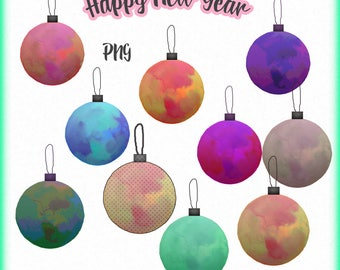 New year clipart, Decorations clip art, Digital clipart, Happy new year clip art, New years decorations clipart, Christmas tree decorations