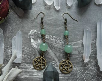 Dual Green Aventurine Handmade Gemstone Earrings