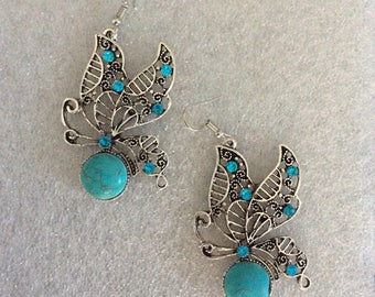 Earrings Butterfly Turquoise with CZ,s