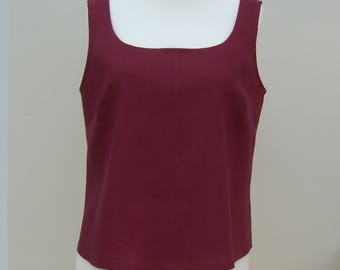 Linen top scoop neck sleeveless 100% pure linen, jade green, teal, pink, purple, red, white, black, navy, pale blue, yellow