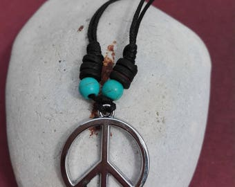 Peace on a cord necklace