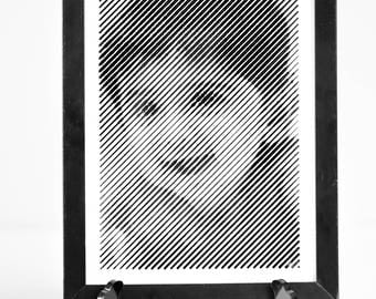 Black and White engraved portrait with Diagonal line engraving-7'X9'