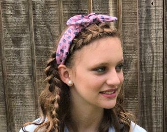 American Flag Top Knot Bandana headband