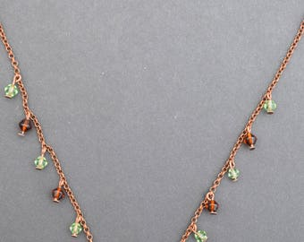 Copper and Glass Vintage Style Delicate Drop Necklace