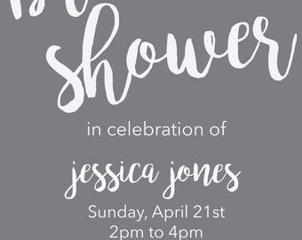 Simple Cursive Bridal Shower Invite