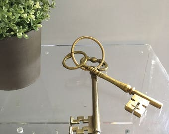 Vintage large oversized brass gold keys skeleton prop decor paper weight paperweight