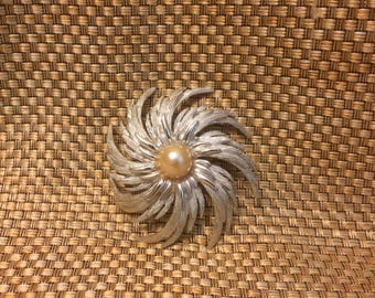 Silver and peal Sarah Coventry brooch